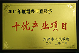 ONE OF TOP TEN INDUSTRIAL PROJECTS OF THE ECONOMY MANAGED BY SHAOXING MUNICIPALITY IN 2014